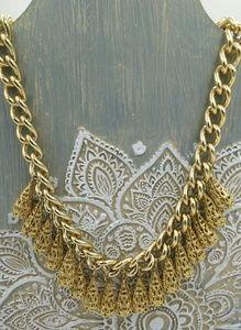 Gold tone filigree teardrop dangle curb necklace